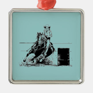 Barrel Racing Horse Metal Ornament