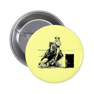Barrel Racing Horse Pinback Button