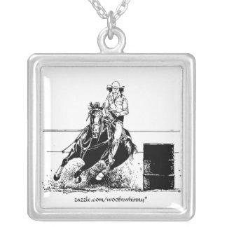 Barrel Racing Horse Square Pendant Necklace