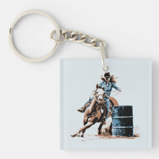 Barrel Racing Keychain