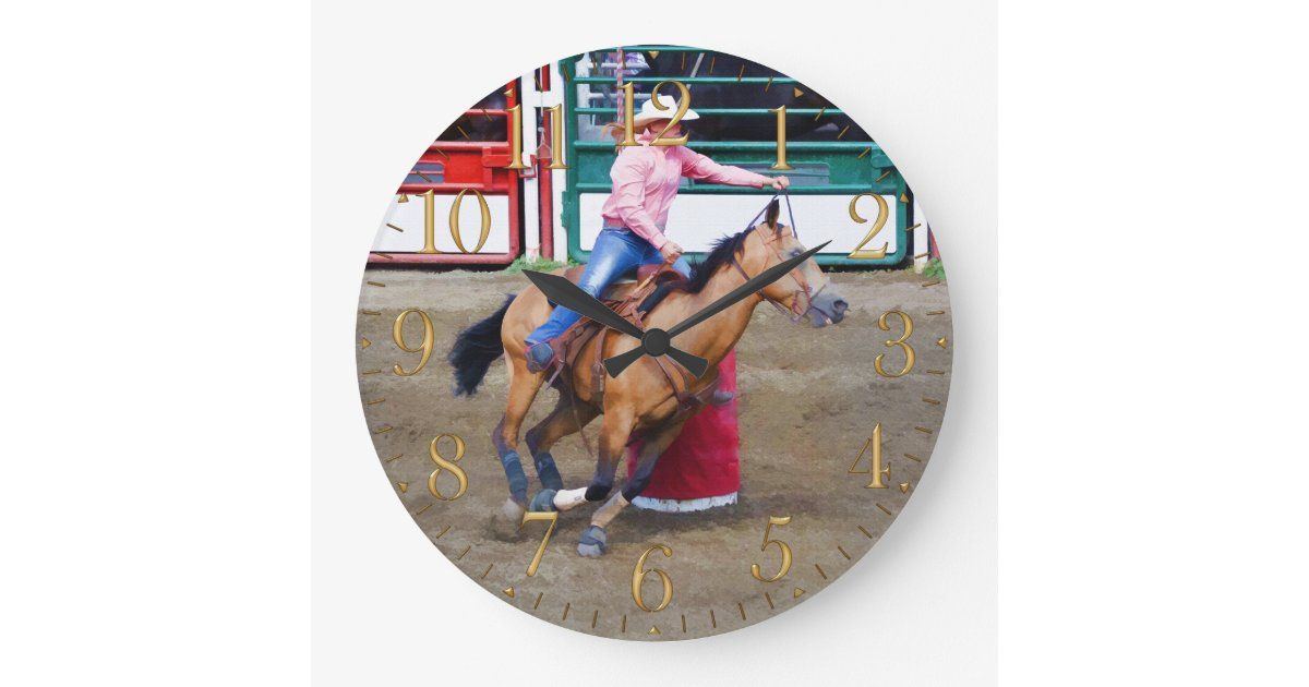 Barrel Racing Rodeo Cowgirl Design I Large Clock Zazzle Com