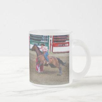 Barrel-Racing Rodeo Cowgirl DesignI Frosted Glass Coffee Mug