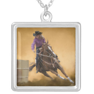 Barrel Racing Silver Plated Necklace