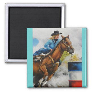 Barrell Racer Painting on Customizable Products Fridge Magnets