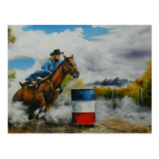 Barrell Racer Painting on Customizable Products Postcard
