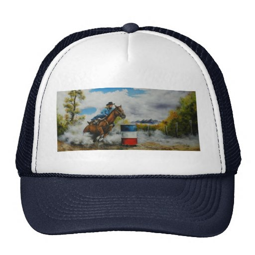 Barrell Racer Painting on Customizable Products Trucker Hat