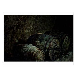 Barrels dark painterly postcard