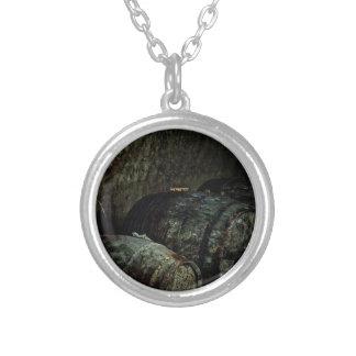 Barrels dark painterly round pendant necklace