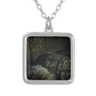 Barrels dark painterly square pendant necklace