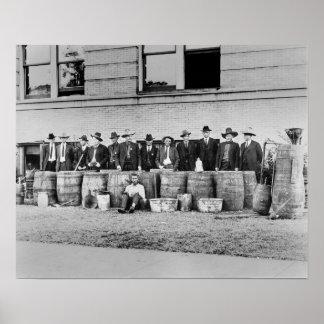 Barrels of Bootleg Liquor, 1922 Poster