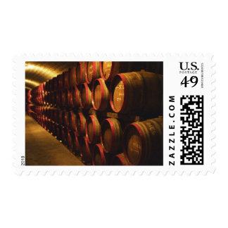 Barrels of Tokaj wine stacked in the Disznoko Postage