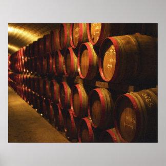 Barrels of Tokaj wine stacked in the Disznoko Posters