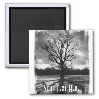 Barren Branches Tree 2 Inch Square Magnet