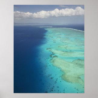 Barrera de arrecifes de Malolo de la isla de Malol Póster