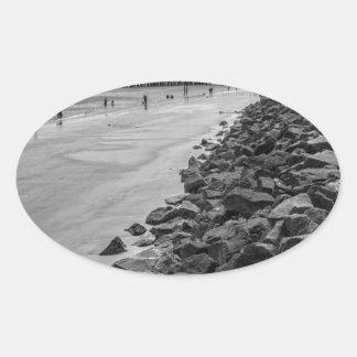 Barrera del mar de Georgia de la isla de Jekyl Pegatina Ovalada