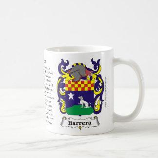 Barrera, la historia, el significado y el escudo taza clásica
