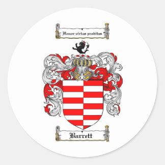 BARRETT FAMILY CREST -  BARRETT COAT OF ARMS CLASSIC ROUND STICKER