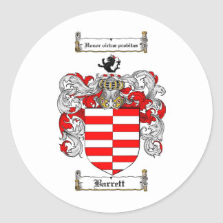 BARRETT FAMILY CREST - BARRETT COAT OF ARMS ROUND STICKERS