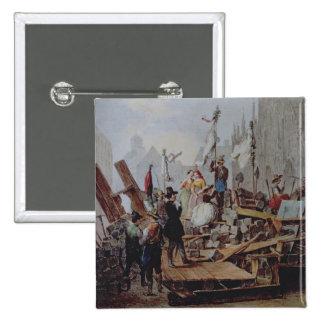 Barricadas en el Stephansplatz, Viena, 1848 Pin Cuadrada 5 Cm