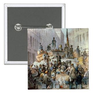 Barricadas en Marzstrasse, Viena, 1848 Pin Cuadrada 5 Cm