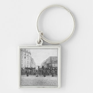 Barricade at the Faubourg Saint-Antoine Silver-Colored Square Keychain