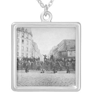 Barricade at the Faubourg Saint-Antoine Silver Plated Necklace