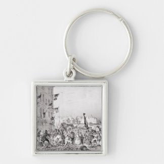 Barricade at the Rue Dauphine Silver-Colored Square Keychain