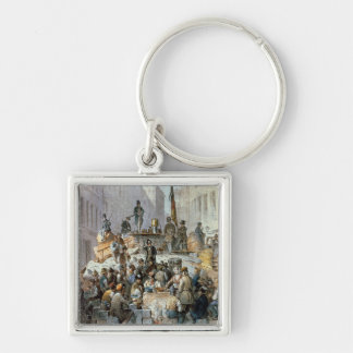 Barricades in Marzstrasse, Vienna, 1848 Silver-Colored Square Keychain