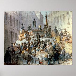 Barricades in Marzstrasse, Vienna, 1848 Poster