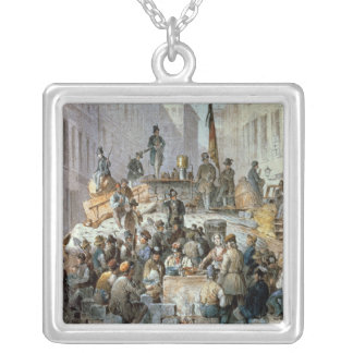 Barricades in Marzstrasse, Vienna, 1848 Silver Plated Necklace