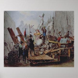 Barricades in the Stephansplatz, Vienna, 1848 Poster