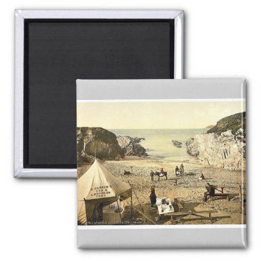 Barricane Shell Beach, Morthoe, England rare Photo 2 Inch Square Magnet