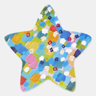 BARRIDO 1 - océano colorido brillante del azul del Pegatina Forma De Estrella