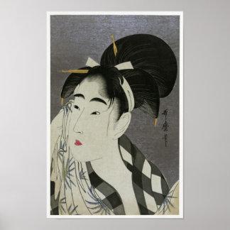 """Barrido de la mujer de Kitagawa Utamoro """"sudado """" Póster"""