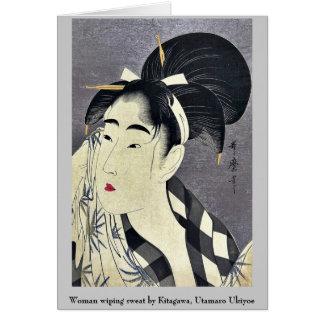Barrido de la mujer sudado por Kitagawa, Utamaro Tarjeta Pequeña