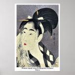 Barrido de la mujer sudado por Kitagawa, Utamaro U Poster