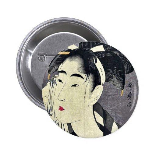 Barrido de la mujer sudado por Kitagawa, Utamaro U Pins