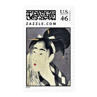 Barrido de la mujer sudado por Kitagawa, Utamaro U Sellos