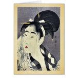 Barrido de la mujer sudado por Kitagawa, Utamaro U Tarjetas