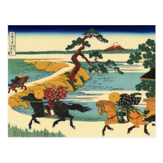 Barrier Town on the Sumida River (by Hokusai) Postcard