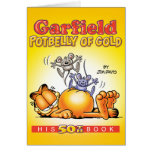 Barriga de Garfield de la tarjeta de nota de oro