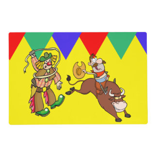 Barril 2 del payaso del rodeo del jinete de Bull Tapete Individual