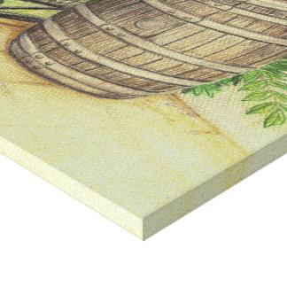 Barril con glicinias impresión en lona