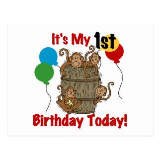 Barril de 1r cumpleaños de los monos postales
