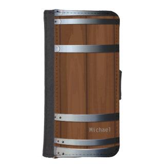 Barril de cerveza de madera retro billetera para iPhone 5
