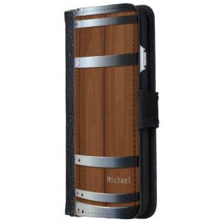 Barril de cerveza de madera retro funda cartera para iPhone 6
