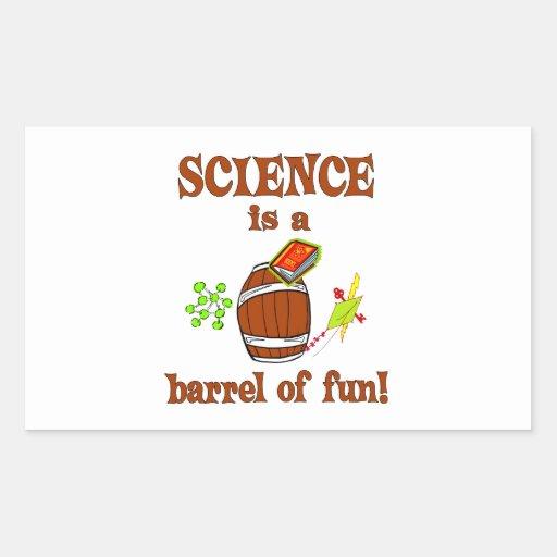Barril de la ciencia de diversión rectangular pegatinas