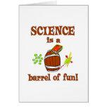 Barril de la ciencia de diversión tarjetas