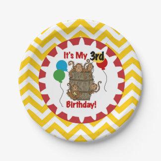 Barril de placas de papel del 3ro cumpleaños de plato de papel de 7 pulgadas