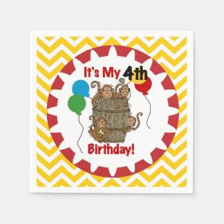 Barril de servilletas de papel del 4to cumpleaños